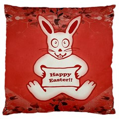 Cute Bunny Happy Easter Drawing Illustration Design Large Cushion Case (single Sided)  by dflcprints