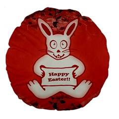 Cute Bunny Happy Easter Drawing Illustration Design 18  Premium Round Cushion  by dflcprints