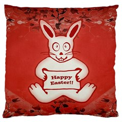 Cute Bunny Happy Easter Drawing Illustration Design Large Flano Cushion Case (two Sides) by dflcprints