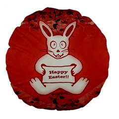Cute Bunny Happy Easter Drawing Illustration Design 18  Premium Flano Round Cushion  by dflcprints