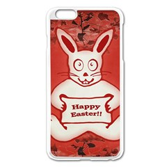 Cute Bunny Happy Easter Drawing Illustration Design Apple Iphone 6 Plus Enamel White Case by dflcprints