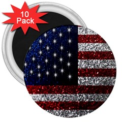 American Flag In Glitter Photograph 3  Button Magnet (10 Pack) by bloomingvinedesign