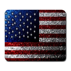 American Flag In Glitter Photograph Large Mouse Pad (rectangle) by bloomingvinedesign