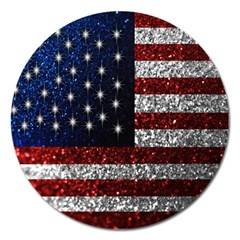 American Flag In Glitter Photograph Magnet 5  (round) by bloomingvinedesign