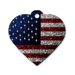 American Flag in Glitter Photograph Dog Tag Heart (Two Sided) by bloomingvinedesign