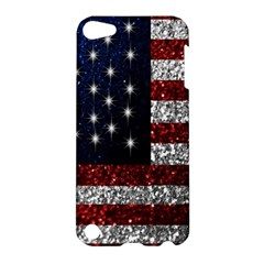 American Flag In Glitter Photograph Apple Ipod Touch 5 Hardshell Case by bloomingvinedesign