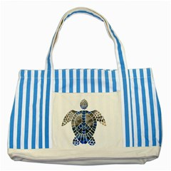 Peace Turtle Blue Striped Tote Bag