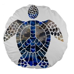 Peace Turtle 18  Premium Round Cushion  by oddzodd