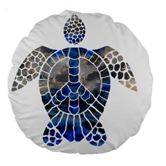 Peace Turtle 18  Premium Flano Round Cushion  by oddzodd