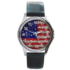 American Flag Mosaic Round Leather Watch (silver Rim) by bloomingvinedesign