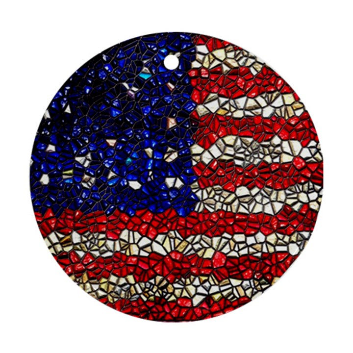 American Flag Mosaic Round Ornament