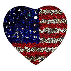 American Flag Mosaic Heart Ornament by bloomingvinedesign