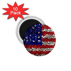 American Flag Mosaic 1.75  Button Magnet (10 pack) by bloomingvinedesign