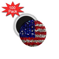 American Flag Mosaic 1 75  Button Magnet (100 Pack) by bloomingvinedesign