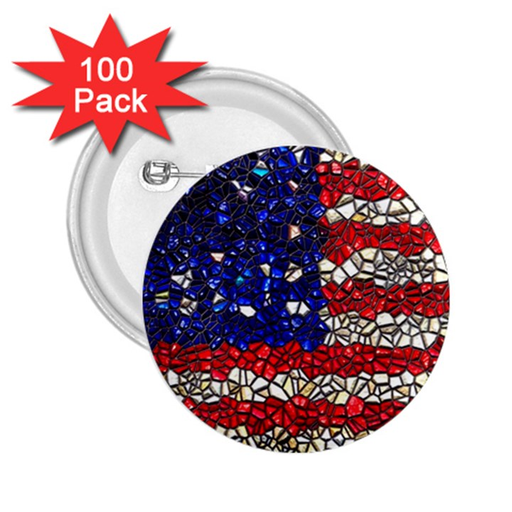 American Flag Mosaic 2.25  Button (100 pack)