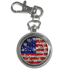 American Flag Mosaic Key Chain Watch by bloomingvinedesign