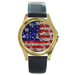 American Flag Mosaic Round Leather Watch (gold Rim)  by bloomingvinedesign
