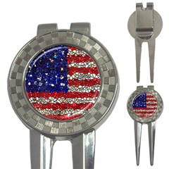 American Flag Mosaic Golf Pitchfork & Ball Marker by bloomingvinedesign