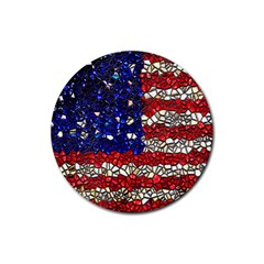 American Flag Mosaic Drink Coaster (round) by bloomingvinedesign