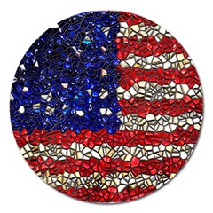 American Flag Mosaic Magnet 5  (round) by bloomingvinedesign