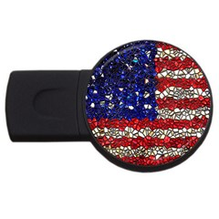 American Flag Mosaic 2gb Usb Flash Drive (round) by bloomingvinedesign