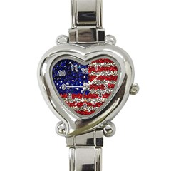 American Flag Mosaic Heart Italian Charm Watch  by bloomingvinedesign