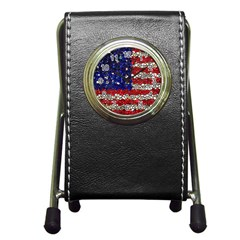 American Flag Mosaic Stationery Holder Clock by bloomingvinedesign
