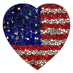 American Flag Mosaic Jigsaw Puzzle (heart) by bloomingvinedesign