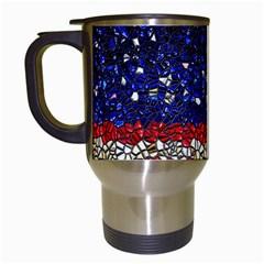 American Flag Mosaic Travel Mug (white) by bloomingvinedesign