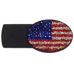 American Flag Mosaic 4gb Usb Flash Drive (oval) by bloomingvinedesign