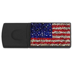 American Flag Mosaic 4gb Usb Flash Drive (rectangle) by bloomingvinedesign