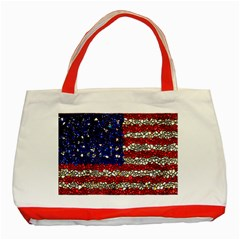 American Flag Mosaic Classic Tote Bag (red) by bloomingvinedesign