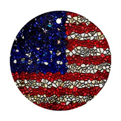 American Flag Mosaic Round Ornament (two Sides) by bloomingvinedesign