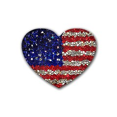American Flag Mosaic Drink Coasters (heart) by bloomingvinedesign