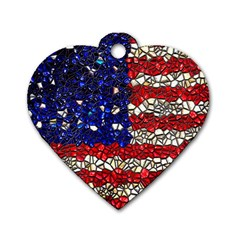 American Flag Mosaic Dog Tag Heart (two Sided) by bloomingvinedesign