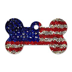 American Flag Mosaic Dog Tag Bone (two Sided) by bloomingvinedesign