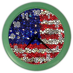 American Flag Mosaic Wall Clock (color) by bloomingvinedesign