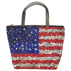American Flag Mosaic Bucket Handbag by bloomingvinedesign