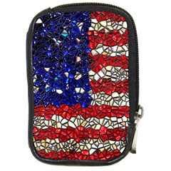 American Flag Mosaic Compact Camera Leather Case by bloomingvinedesign