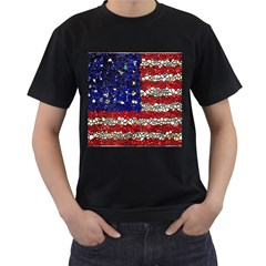 American Flag Mosaic Men s T Shirt (black) by bloomingvinedesign
