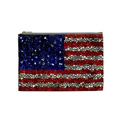 American Flag Mosaic Cosmetic Bag (medium) by bloomingvinedesign