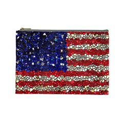 American Flag Mosaic Cosmetic Bag (large) by bloomingvinedesign