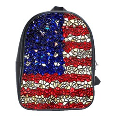 American Flag Mosaic School Bag (large) by bloomingvinedesign