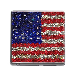 American Flag Mosaic Memory Card Reader With Storage (square) by bloomingvinedesign