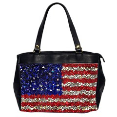American Flag Mosaic Oversize Office Handbag (two Sides) by bloomingvinedesign