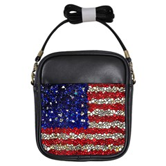 American Flag Mosaic Girl s Sling Bag by bloomingvinedesign