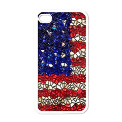 American Flag Mosaic Apple Iphone 4 Case (white) by bloomingvinedesign