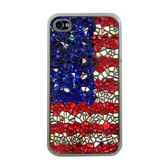 American Flag Mosaic Apple Iphone 4 Case (clear) by bloomingvinedesign