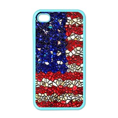 American Flag Mosaic Apple Iphone 4 Case (color) by bloomingvinedesign