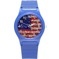 American Flag Mosaic Plastic Sport Watch (small) by bloomingvinedesign